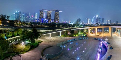 Marina barrage in night