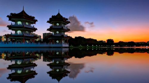 Sunset at chinese garden singapore